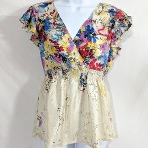 Anthropologie Edme & Esyllte Floral Silk Blouse